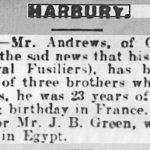 Obituary of Arnold Andrew from the Leamington Spa Courier, Fri 11 October 1918