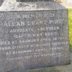 Allan Pirie's gravestone in Ufton churchyard