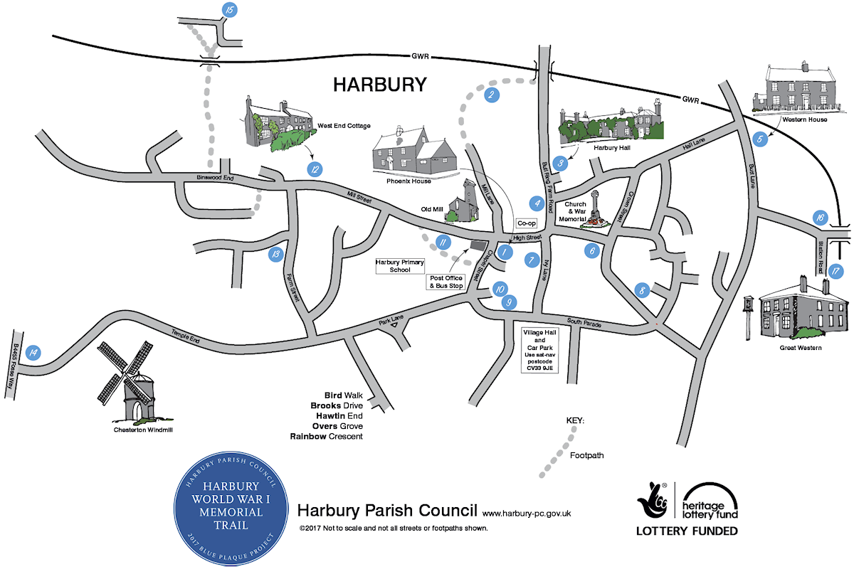 Blue Plaque Map showing the location of commemorative plaques around Harbury Village