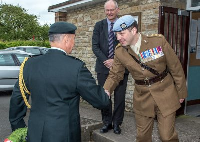 Cap Potter welcomes Lt col Rushen to Harbury, with Cllr Gibb