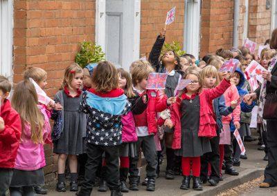 School children queuing in Church Street