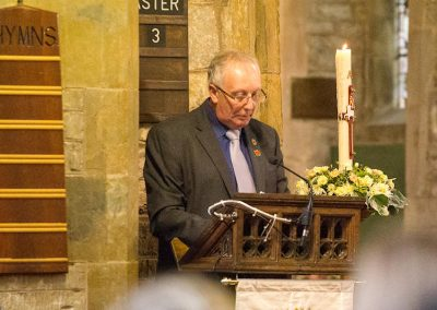 Rob Barfoot reads the Roll of Honour, including Reuben Barfoot
