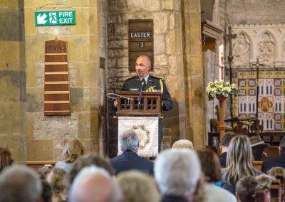 Lt Col addresses the congregation