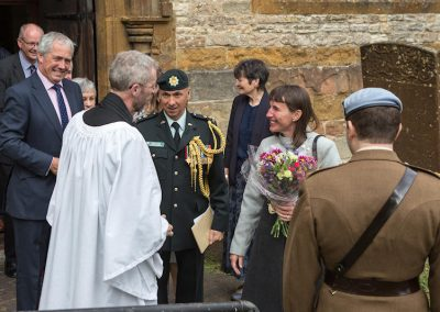 Lord Lt, Lt Col and Mrs Rushen at the church door