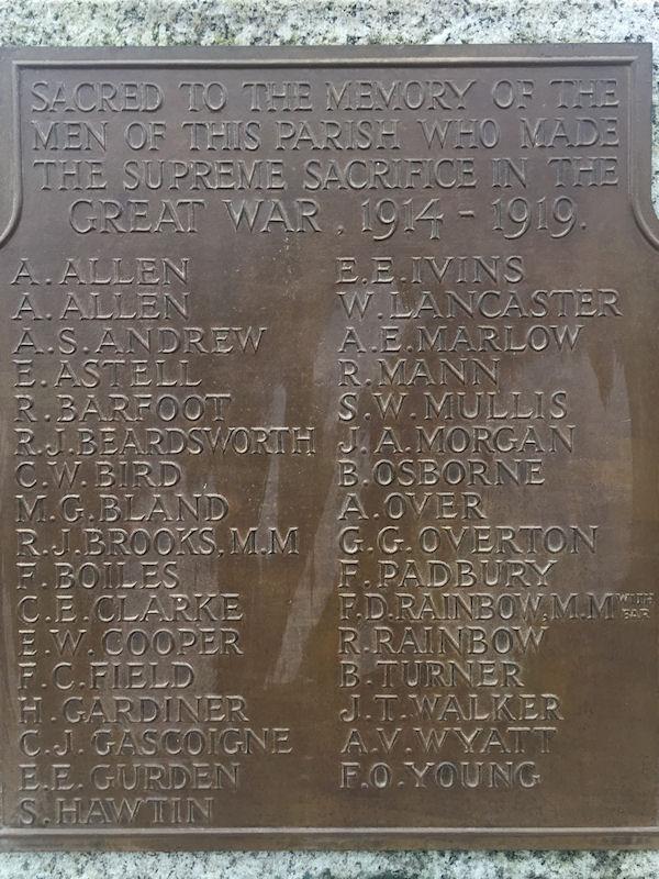 Detail on the Crown Street War Memorial in Harbury