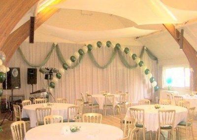 Main Hall decorated for a wedding reception